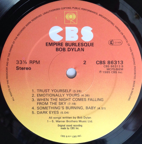 Bob Dylan - Empire Burlesque (LP, Album)