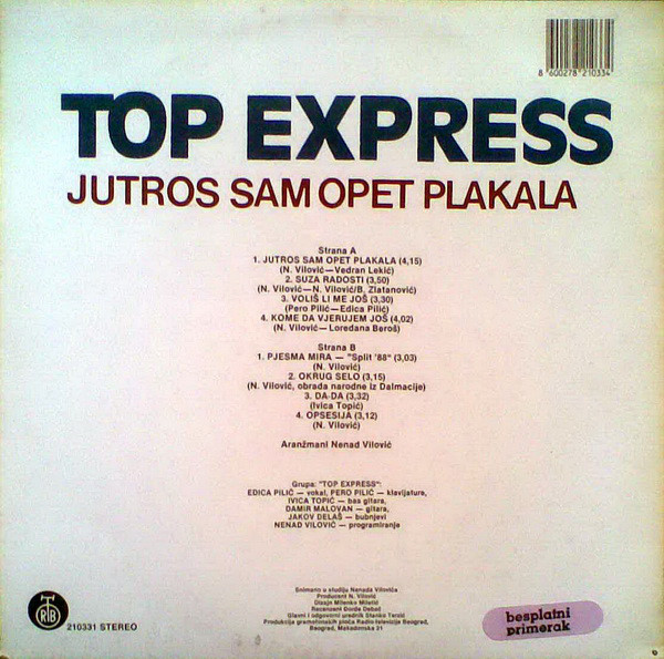 Top Express - Jutros Sam Opet Plakala (LP, Album)
