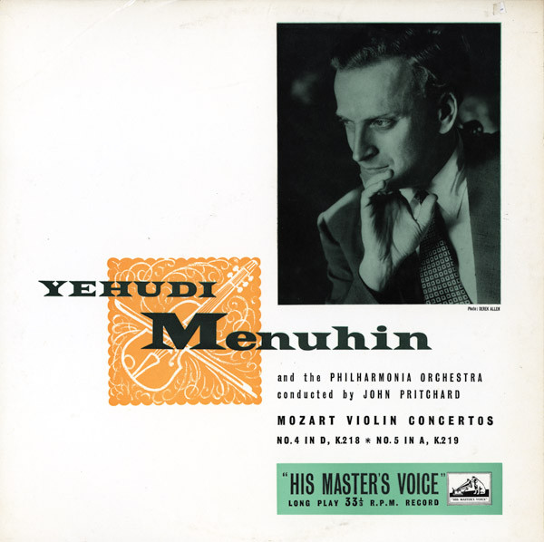 Mozart*, Yehudi Menuhin And The Philharmonia Orchestra* Conducted By John Pritchard - Violin Concertos Nos. 4 And 5 (LP, Album, Mono)