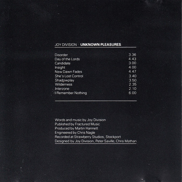 Joy Division - Unknown Pleasures (CD, Album, RE)
