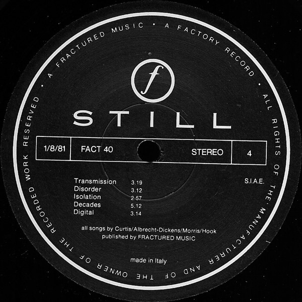 Joy Division - Still (2xLP, Album, RE, Gat)